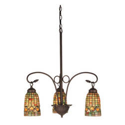 """Meyda Tiffany - 20.5""""W Tiffany Acorn 3 Lt Chandelier - Louis Comfort Tiffany inspired Golden Acorns dance playfully in a ring around these geometric grid patterned elongated shades in Autumn Harvest Honey, Rust and Olive Green. The simply stated three light chandelier is finished in a Warm Mahogany Bronze."""