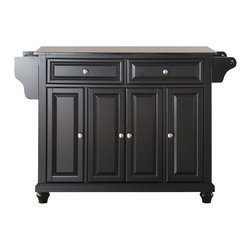 Crosley Furniture - Cambridge Solid Black Granite Top Kitchen Isl - Beautiful Raised Panel Doors. Brushed Nickel Hardware. Total of Three Adjustable Shelves Inside Cabinet. Spice Rack with Towel Bar. Towel Bar / Paper Towel Holder. Solid Black Granite Top. Solid Hardwood & Veneer Construction. 36 in. H x 52 in. W x 18 in. D (160.5 lbs.)Constructed of solid hardwood and wood veneers, this kitchen island is designed for longevity. The beautiful raised panel doors and drawer fronts provide the ultimate in style to dress up your kitchen. Two deep drawers are great for anything from utensils to storage containers. Behind the four doors, you will find adjustable shelves and an abundance of storage space for things that you prefer to be out of sight. Style, function, and quality make this mobile kitchen cart a wise addition to your home.