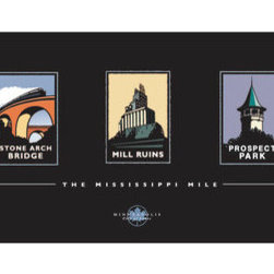 Numeric Press Ltd - Landmark Series, MN The Mississippi Mile Collection by Mark Herman, Black, 24x8 - Landmark Series | MN The Mississippi Mile Collection by Mark Herman. Collection includes: Nicollet Island, Mill City Museum, Stone Arch Bridge, Mill Ruins, The Depot.