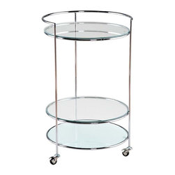 Eurostyle - Eurostyle Roberta Round Glass Top Side Table w/ Chrome Frame & Casters - Round Glass Top Side Table w/ Chrome Frame & Casters belongs to Roberta Collection by Eurostyle Roberta Occasional Rolling Cart is a wonderful combination of both functionality and elegance. The cart features round clear glass top, 2 glass shelves resembling the shape of the top and chrome casters. Side Table (1)