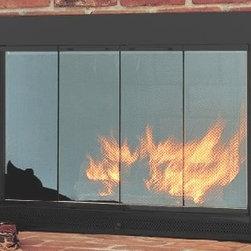 4033 Flat Black Slimline Hearth Craft Fireplace Glass Door - In Stock -