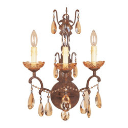 "Designers Fountain - Designers Fountain Bollo Traditional Bathroom / Vanity Light X-RBV-30389 - Luxury and timelessness are captured in our Bollo collection with it's graceful refined arms and intricate scroll details abundantly adorned with the richness of the Antiqued Amber crystal drops. Finished in ""Venetian Bronze""."