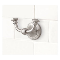 "Mercer Double Wall Hook, Satin Nickel finish - A change of hardware is an easy way to give your space a fresh new look. Our double hook is cast of brass that's been thickly plated to ensure a lasting finish.4"" wide x 2.5"" deep x 3"" high View our {{link path='pages/popups/fb-bath.html' class='popup' width='480' height='300'}}Furniture Brochure{{/link}}."