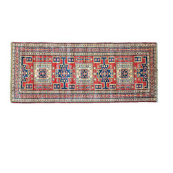 Oriental Rug, 3'X7' Super Kazak Runner Hand Knotted 100% Wool Rug SH11195 - This collections consists of well known classical southwestern designs like Kazaks, Serapis, Herizs, Mamluks, Kilims, and Bokaras. These tribal motifs are very popular down in the South and especially out west.