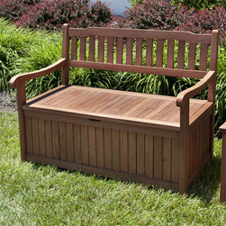 4 ft Teak Storage Bench with Scrolled Arms - This multipurpose bench provides storage for your patio clutter and the functionality of additional seating space in your outdoor living space. This teak wood storage bench features lovely scrolled arms and shapely backrest and an easy-open, hinged lid.