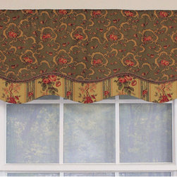 RLF HOME - Tavistock Forest Glory Window Valance - This lively floral pattern in shades of forest green and red is made into a layered,shaped valance with a coordinating stripe and finished with a gimp trim along the bottom of the top layer. The valance is lined and made with a 3-inch rod pocket.