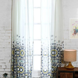 Magical Thinking Moroccan Tile Curtain, Blue - I love the cascading geometric pattern on these panels. The look is more like artwork than just another curtain design.