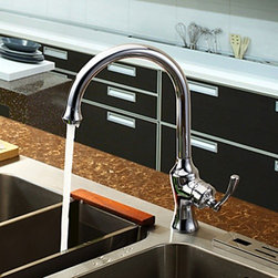 Kitchen Sink Faucets - Chrome Finish - Brass Centerset Single Handle Kitchen Faucet--FaucetSuperDeal.com