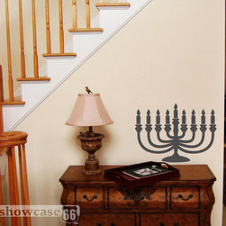 Hanukkah Menorah Vinyl Wall Art by Showcase 66 - A different sort of menorah, this decal will add to your Hanukkah party decorations.