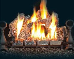 "Napoleon FIBERGLOW Vent Free Gas Log Set - Featuring exclusive PHAZER logs crafted from ceramic fibers the Napoleon FIBERGLOW Vent Free Gas Log Set is equipped with Napoleon's PHAZERAMIC™ advanced infrared heat technology. The result is an excellent heat source with the look of a real wood fireplace. Available in several sizes this log set is complete with a cast iron grate painted black andirons and lava rock and cinders - everything you'd see in an real log-burning fireplace. It's available in clean burning natural gas or propane and uses infrared heat to warm your space. Enjoy 50% flame and heat adjustment via the controls that are hidden from view but easy to operate. It turns on and off with the flick of a switch. Note: Vent-free products are not approved for use in Canada and some states. Please check your local codes regarding vent-free products. A licensed contractor should be contacted for installation of all products involving gas lines. About NapoleonNapoleon got its start in 1976 as a steel fabrication business launched by Wolfgang Schroeter in Barrie Ontario Canada. His original stove was a solid cast iron two-door design that was produced in a 100 sq. ft. manufacturing facility. By 1981 the name """"Napoleon"""" was born along with the first single glass door with Pyroceram high temperature ceramic glass in the industry. This glass door was the first of many milestones for the company and the demand for Napoleon's wood stoves grew over the next few years beyond Ontario's borders to the rest of Canada and into the United States. Over the years Napoleon has led the way with innovative engineering and design. They are now North America's largest privately owned manufacturer of quality wood and gas fireplaces gourmet gas and charcoal grills outdoor living products and heating and cooling products. Napoleon is committed to producing high quality products with honest reliable service. This approach has proven to be a successful framework to ensuring the continued rapid growth of the company."
