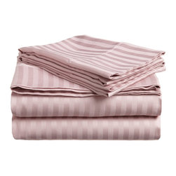 300 Thread Count Egyptian Cotton Twin Lavender Stripe Sheet Set - 300 Thread Count Egyptian Cotton Twin Lavender Stripe Sheet Set