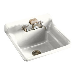 "KOHLER - KOHLER K-6608-2-0 Bayview Self-Rimming Utility/Laundry Sink with Two-Hole Faucet - KOHLER K-6608-2-0 Bayview Self-Rimming Utility/Laundry Sink with Two-Hole Faucet Drilling in Backsplash in WhiteThe Bayview single-basin utility sink is ideal for the hardest working rooms of the home. This self-rimming unit features durable KOHLER Cast Iron construction, a two-hole faucet drilling in front of the integrated backsplash, and a generous 11"" basin depth.Please see our Delivery Notes for Freight Shipments for products that are oversized and/or are too heavy to ship UPS ground. KOHLER K-6608-2-0 Bayview Self-Rimming Utility/Laundry Sink with Two-Hole Faucet Drilling in Backsplash in White, Features:• Single-basin utility sink with installation and faucet options"