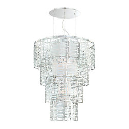 Eurofase - Razel 20387-013 - Chandelier | Eurofase - Eurofase Lighting Razel 20387-013�Chandelier features�chrome finish with white glass shade. A true statement collection, this fabric and chrome combination gives depth and character to the setting. Manufacturer: Eurofase LightingSize:�30 in. diameter x 38 in. height x 72 in. cord lengthLight Source: 4�x 60 watt 120V A19 E26 incandescent - not includedLocation:�DryCertifications: ETL