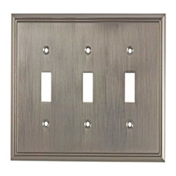 Richelieu Hardware - Richelieu Contemporary  Switch Plate 3 Toggle 172X123mm Nickel - Richelieu Contemporary  Switch Plate 3 Toggle 172X123mm Nickel