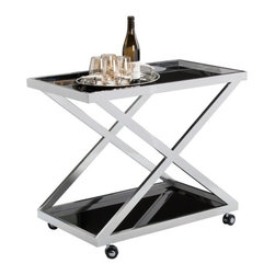 X-Shaped Bar Trolley with Stainless Steel Frame - X-Shaped Bar Trolley with Stainless Steel Frame