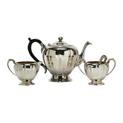 Lavish Shoestring - Consigned Silver Plated Pumpkin Shape Tea Set by Marlboro, Vintage Canadian - This is a vintage one-of-a-kind item.