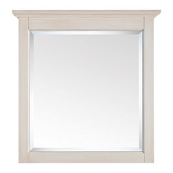 """Lamps Plus - Country - Cottage Tropica Antique White 32"""" High Vanity Wall Mirror - Complete a bathroom sink area or dress up an entryway with this gorgeous wall mirror. The Tropica mirror is crafted with solid birch wood and presented in an antique white distressed finish. Features a large beveled mirror pane. With a wood cleat on the back for easy hanging. Solid birch construction. Beveled mirror pane. Antique white distressed finish. Mirror glass only is 26 1/2"""" high 23 1/2"""" wide. 32"""" high. 30"""" wide. 2"""" deep. Hang weight of 29 lbs.  Solid birch construction.   Beveled mirror pane.   Antique white distressed finish.   Mirror glass only is 26 1/2"""" high 23 1/2"""" wide.   32"""" high.   30"""" wide.   2"""" deep.   Hang weight of 29 lbs."""
