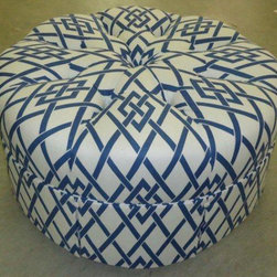 "Upholstered Ottomans - Marian ottoman, blue ""lattice"" on white"