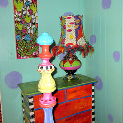 Single wide trailer Into Beach Vacation Rental - In doing this project, I had a limited budget so I used recycled furnishings that I had painted to create an eclectic, colorful space.
