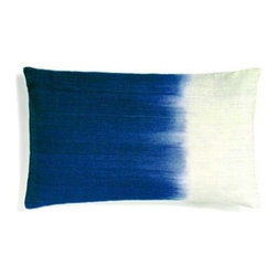 5 Surry Lane - Indigo Blue Ombré Dip-Dyed Silk Lumbar Pillow - Saturated colors are juxtaposed with creamy ivory in this ombre-hued pillow. The striations of color from the dyeing process give it a hand-painted feel. In your formal living room, it will add a spark of jewel-toned color.