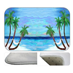Paradise Palms Plush Bath Mat, 20X15 - Bath mats from my original art and designs. Super soft plush fabric with a non skid backing. Eco friendly water base dyes that will not fade or alter the texture of the fabric. Washable 100 % polyester and mold resistant. Great for the bath room or anywhere in the home. At 1/2 inch thick our mats are softer and more plush than the typical comfort mats.Your toes will love you.