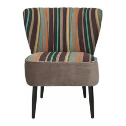 Safavieh - Morgan Accent Chair - Multi Striped - Our retro inspired Morgan chair, shown in lively multi-stripe fabric, is full of personality despite its simple silhouette. Judicious channel pleating on the v-shaped backrest, straight birch wood legs, shown in black finish, and generous seat make Morgan the ideal choice for transitional rooms. Cheer up any room in the house with this fun mid-century modern design.