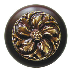 """Inviting Home - Chrysanthemum Walnut Wood Knob (antique brass) - Chrysanthemum Walnut Wood Knob with hand-cast antique brass insert; 1-1/2"""" diameter Product Specification: Made in the USA. Fine-art foundry hand-pours and hand finished hardware knobs and pulls using Old World methods. Lifetime guaranteed against flaws in craftsmanship. Exceptional clarity of details and depth of relief. All knobs and pulls are hand cast from solid fine pewter or solid bronze. The term antique refers to special methods of treating metal so there is contrast between relief and recessed areas. Knobs and Pulls are lacquered to protect the finish. Alternate finishes are available."""