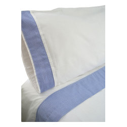 "100% Egyptian Cotton Sheet Set  - White w/ Blue Trim, Queen - 100% Egyptian Cotton 410 thread count customized sheet sets that coordinate with our Tuck Me In Good Night Bedding Retainment System. Our oversized flat sheets offer an additional 10"" in length to provide for full coverage and comfort. They also include a special sewn sleeve/slot to receive the Tuck Me In bedding retainment rod (sold separately). With the Tuck Me In Good Night bedding retainment system your sheets will never get untucked again  - we guarantee it or your money back!"