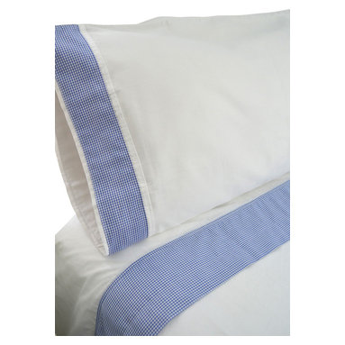 """100% Egyptian Cotton Sheet Set  - White w/ Blue Trim, Queen - 100% Egyptian Cotton 410 thread count customized sheet sets that coordinate with our Tuck Me In Good Night Bedding Retainment System. Our oversized flat sheets offer an additional 10"""" in length to provide for full coverage and comfort. They also include a special sewn sleeve/slot to receive the Tuck Me In bedding retainment rod (sold separately). With the Tuck Me In Good Night bedding retainment system your sheets will never get untucked again  - we guarantee it or your money back!"""