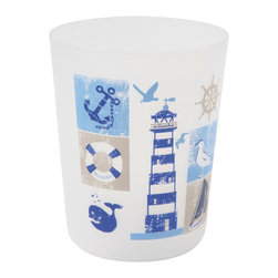 Printed Trash Can Key West Blue 3-Liter/0.8-Gal - This printed trash can Key west for bathrooms is in polypropylene. It is opaque with maritime patterns. This trash can is a lovely accent for any bathroom with an open top, its capacity is 3-Liter/0.8-Gal. Diameter of 7.68-Inch and height of 9.45-Inch. Wipe clean with a damp cloth. Color blue. Add a fun and modern style to your bathroom decor with this lovely trash can. It's almost too pretty to toss trash into this waste bin! Complete your Key west decoration with other products of the same collection. Imported.