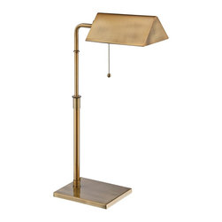 "Lite Source - Contemporary Lite Source Wayland Brushed Brass Desk Lamp - Classic pharmacy desk lamp. Brushed brass finish. Metal construction. Height adjustable. On/off pull chain. Includes one 13 watt CFL bulb or takes one maximum 60 watt incandescent bulb (not included). Color temperature is 2700K. Maximum 24"" high. Shade is 8"" wide and 3"" on the slant. Rectangular base is 6""x8"".   Classic pharmacy desk lamp.  Brushed brass finish.  Metal construction.  Height adjustable.  On/off pull chain.  Includes one 13 watt CFL bulb or takes one maximum 60 watt incandescent bulb (not included).  Color temperature is 2700K.  Maximum 24"" high.  Shade is 8"" wide and 3"" on the slant.  Rectangular base is 6"" by 8""."