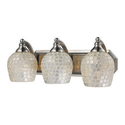 Elk Lighting - Elk Lighting 570-3N-SLV 3 Light Vanity in Satin Nickel & Silver Mosaic Glass - 3 Light Vanity in Satin Nickel & Silver Mosaic Glass belongs to Vanity Collection by Elk Lighting   Sconce (1)
