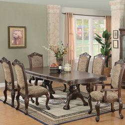 "Coaster - Andrea 7 Pcs Dining Set - The impressive Andrea dining collection features rich carvings and fine accents. This large table group features a double pedestal table base and leaf that extends to accommodate extra guests. Matching china cabinet features three storage drawers with felt lining and cabinets with accent lighting on the top. Chairs have fabric cushioned seating. The collection is finished in a brown cherry tone and crafted from poplar solids and cherry veneers. 30"" Extension Leaf; Fabric Cushion Seats; Brown Cherry Finish; Traditional Style; Set Includes: Dining Table, 4 Side Chairs, 2 Arm Chairs. Dining Table: 82""-112""L X 44""W X 31""H; Side Chair: 30""L X 28""W X 48""H; Arm Chair: 30""L X 29.50""W X 48""H; Seat Height: 18""; Seat Depth: 20.50""."