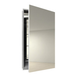 Electric Mirror - Simplicity Right Recessed Medicine Cabinet - Simplicity Right Hinge Recessed medicine cabinet available in right or left hinge, recessed or surface mount, and with or without defogger. Available in satin finish. Designed for humid bathroom environments. Small: 19.25W x 40H x 4D. Large: 23.25W x 40H x 4D. Comes with defogger.