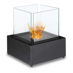 Cube XL Freestanding Bio Ethanol Fireplace by Ignis - Developed to be placed in the middle of the room providing an unobstructed view of the flame, the Cube XL is a portable, freestanding fireplace. A chic way to add an emotive element to your space, the Cube XL offers you ambiance for settings from romantic to entertaining. This fireplace offers an eco-friendly flame that is odorless. Bio Ethanol, an alternative fuel source produced from plants, only emits water vapor and carbon dioxide into the air. Although ethanol fireplaces aren't intended for use as a primary heat source, the Cube XL model produces approximately 6,000 btu, which will change the noticeable temperature in a room of 200-250 square feet. For aesthetic appeal and safety, this fireplace includes four panes of tempered glass that surround the round burner. Appropriate for any space, the Cube XL is offered with a stainless steel base finished with a black powder coat.