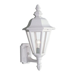 Sea Gull Lighting - Sea Gull Lighting Brentwood Traditional Outdoor Wall Sconce X-51-4288 - This Sea Gull Lighting Brentwood Traditional Outdoor Wall Sconce is a an impeccably designed piece. It has a cast aluminum frame in a beautiful, black powdercoat finish and is complemented by panels of clear glass. It's a visually pleasing light fixture that will effortlessly add a touch of elegance and beauty to most any outdoor environment.