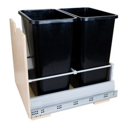 Hardware Resources - Preassembled 35-Quart Double Pullout Waste Container System - Preassembled 35 Quart Double Pullout Waste Container System.  Featuring 21 Undermount Metal Drawer Box System.    Preassembled and ready to install.   Soft closing undermount slides.   Edgebanded Baltic Birch Plywood with UV coating.   35qt polymer black trash cans included (2 pcs).   Designed for use with 13 gallon tall kitchen trash bags.   Mounts to bottom of cabinet.   For cabinets with 17 minimum opening width.