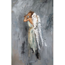 Anguish (Original) by Judy Mackey - A weeping angel painting in soft gray tones.  Painted  with a palette knife, this painting has texture.  The sides are painted and it is wired and ready to hang.  I love paintings in all sorts of emotions and I thought of a sad, troubled angel.