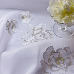 Peonies Bed Linens - This is pure elegance and sophistication, with a touch of femininity thrown in to boot. Large peonies hand-embroidered on crisp white Egyptian cotton creates a wonderful look for a chic transitional-style bedroom. You can never go wrong with all-white bed linens!