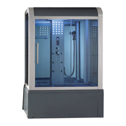 Eagle Bath - Eagle Bath 59 Inch Steam Shower w/ Whirlpool Bathtub Combo Unit - Unit must be hardwired to two dedicated 110v line with GFCI breaker. Electric Voltage - 110v, 50HZ. Electric Current - 30A for Steam Generator. Steam Generator - 3KW. Electrical Voltage - 110v, 50HZ. Whirlpool Motor - 3/4 HP. Electric Current - 20a for Whirlpool Motor (30a w/ Heater). Hot & Cold Valve Pipe Size - 1/2 Inch. Overheat protection (the steam generator will be shut down automatically if the temperature of the box gets too hot). No water protection (if there is no water in the steam generator, it will shut down immediately). Flexible drain hose - Approximately 3ft long (If you are using the flexible drain hose, you should have your waste hole 1.6 ft away from the drain hole at the bottom of your acrylic base).