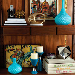 DwellStudio - DwellStudio Glass Bulb Blue Vase - Add a pop of color to a room with retro-inspired turquoise glass bulb vases by DwellStudio. Available in 2 sizes; Textured glass; Bottleneck shape