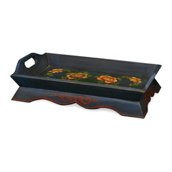 China Furniture and Arts - Tibetan Motif Tea Tray - Pairing beauty and utility, this Tibetan motif tea tray is beautifully hand-painted with peony flower motif. Makes a lovely addition in any contemporary setting. Color may vary with each one; please allow us to select for you.