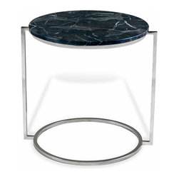 Kathy Kuo Home - Bauhaus Chocolate Travertine Round Side End Table - Reminiscent of Bauhaus era minimalism and the ebullient reinterpretation of it expressed by Italian designers  in the 1980s, this oval side table makes maximum impact using the sparest of lines.    With a chocolate marble surface and polished nickel base, it is perfect for industrial loft and contemporary style spaces alike.