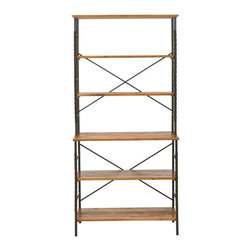 Safavieh - Brooke Etagere - Walnut Brown - The Brooke etagere brings soft, modern style to any interior with its industrial chic combination of walnut finished fir wood for open shelves contrasted with antique pewter frame. Perfect for books, dishes or precious objects, it's a design classic.