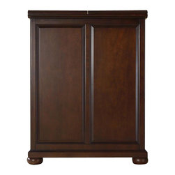 """Crosley Furniture - Alexandria Bar Cabinet in Mahogany - Beautiful Raised Panel Doors. Antique Brass Finish Hardware. Plenty of Room for Storing Barware & Spirits. Doubles as a Serving Station when Entertaining. Adjustable Levelers in Legs. Expands to 62 1/2"""" Wide when Open. Solid Hardwood & Veneer Construction. Front & back of bar have matching finish. Assembly required. 42in. H x 31.25in. W x 22in. D (150 lbs). Assembly InstructionsConstructed of solid hardwood and wood veneers, this Expandable Bar Cabinet is designed for longevity. The beautiful raised panel doors provide the ultimate in style to dress up your home. The doors open and top folds out to double the size of your entertaining / serving area. Inside the doors, you will find plentiful storage space for spirits, glassware, and a host of other bar items. The center cabinet features 16 bottle wine storage, utility drawer, hanging stemware storage, and extra space for a variety of other barware."""