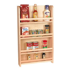 "Century Components - Century Components SRAS15PF Wood Door Mount Kitchen Spice Rack Organizer, 15"" - Wood Door Mount Spice Rack - American Made Amish Hand Crafted Maple - 15"" W x 25-1/2"" H x 3-1/2"" D. This unit is designed to be mounted to the interior side of an upper kitchen cabinet door. Century Components SRAS15PF is made from solid maple wood with a clear natural finish for great appearance, quality and durability. This spice rack has (4) shelves with rail guard."