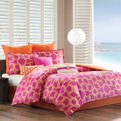 Echo - Echo Catalina Cotton 3-piece Comforter Set - The Echo Catalina comforter set adds a fun burst of color to your bedroom. The modern design infuses bold color with orange lines intertwining on a purple ground and is machine washable for easy care.