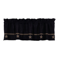 "India Home Fashions - Burlap Valance - The Burlap Star Valance features a rustic applique black star pattern on natural colored cotton ""burlap"" fabric. This window treatment is perfect for country or primitive home decor and can be easily accented with Burlap Check home decor which includes the same beautiful fabric with a large black check pattern. Coordinating window treatments, tableware and bedding are also available."