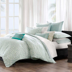 Echo - Echo Mykonos Cotton Duvet Cover and Sham sold separately - This Mykonos duvet cover by Echo brings a calm feeling to the bedroom. The oversized duvet cover is made from 100-percent cotton with a mosaic tile design. The top of bed is complete with a tackless finish on the edge for a clean look.