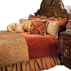 AICO Furniture - Woodside Park King 13-piece Comforter Set - Classic Traditional Motif. Spice Color Scheme. 1 Comforter, 3 Euro Shams, 2 King Size Pillow Shams, 1 Bedskirt (3 Pieces), 6 Decorative Accent Pillows